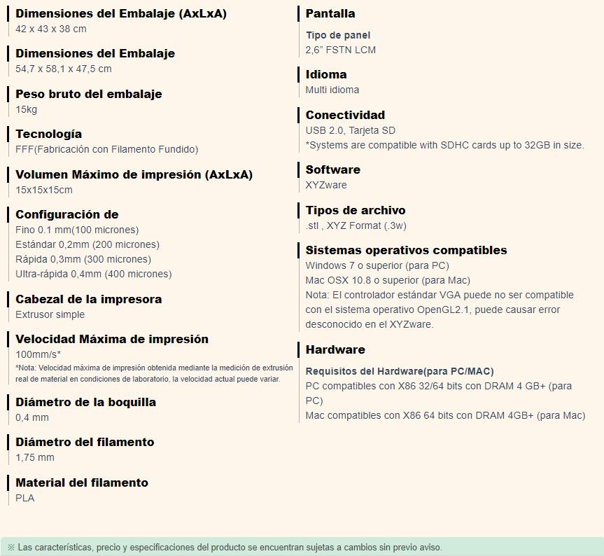 Especificacines Da vinci jr. 1.0