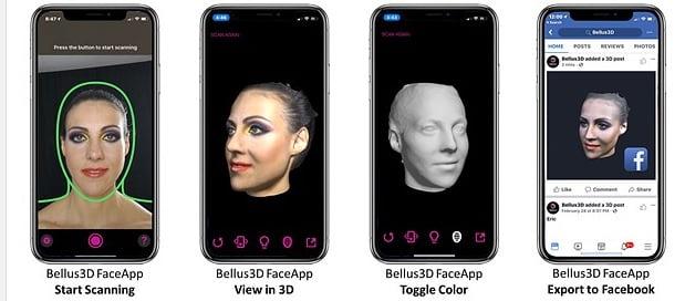 Diferentes muestras de resultados de la aplicación de móvil para escánear imagenes de bellus 3D