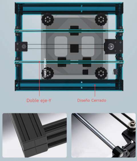 Diseño cerrado y Doble eje y de la anycubic mega zero