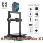 Podemos ver la impresora 3D Artillery Sidewinder x1 con sus ventajas en iconos pequeños para ser comprada.