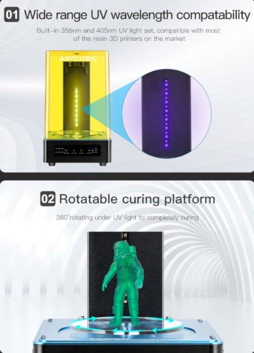 Imagenes de funciones de la máquina de curado de Anycubic