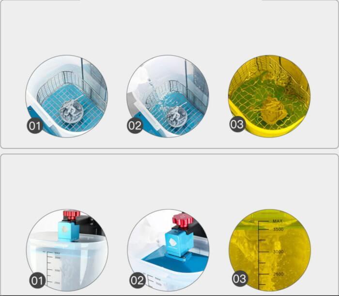 Funciones de modo lavado de la maquina anycubic wash and cure