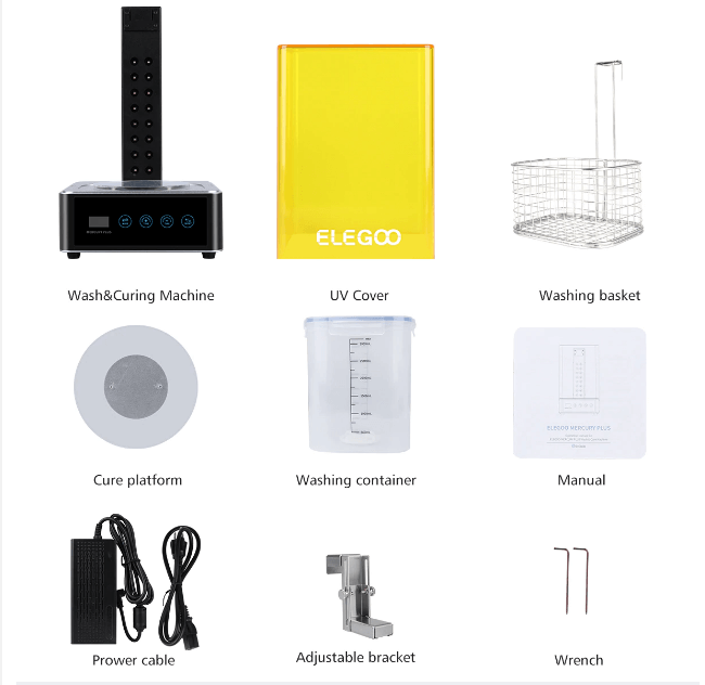Componentes que trae la máquina de lavado y curado Elegoo Mercury Plus