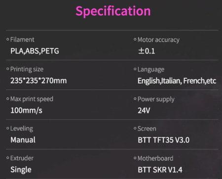 especificaciones tecnicas Biqu b1 imprsora 3D