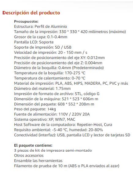 Especificaciones técnicas Tronxy X3S