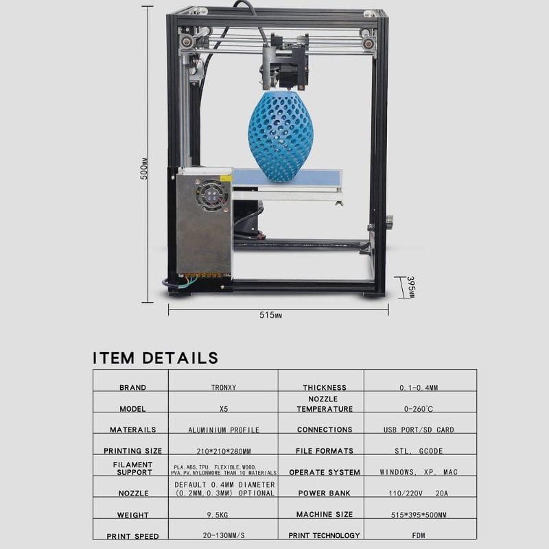 Especificaciones tecnicas Tronxy x5sa