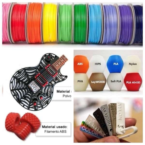 Foto compuesta por varias fotos de royos de filamentos y diferentes objetos hechos con diferentes materiales.